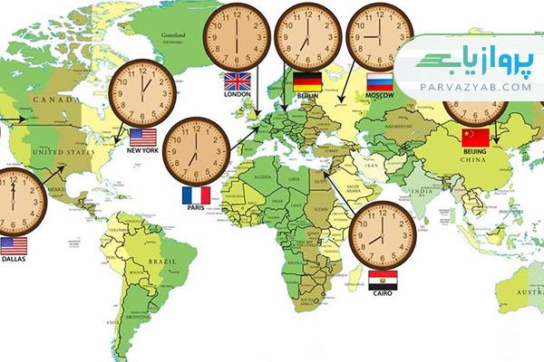 تخمین مدت زمان پرواز و تبدیل زمان کشورها
