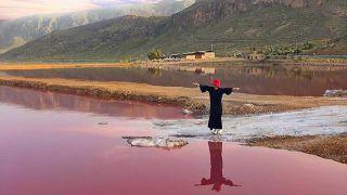 دریاچه مهارلو شیراز دریاچه صورتی
